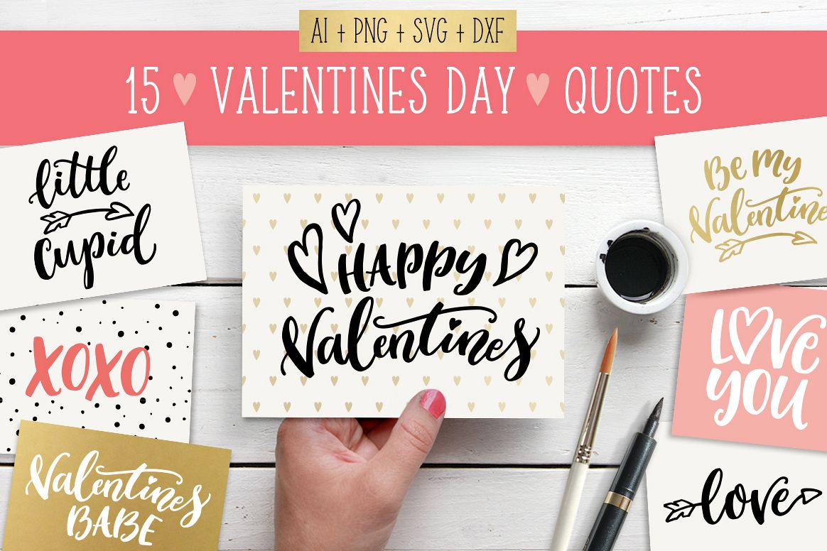 Valentines Day quotes SVG bundle example image 1