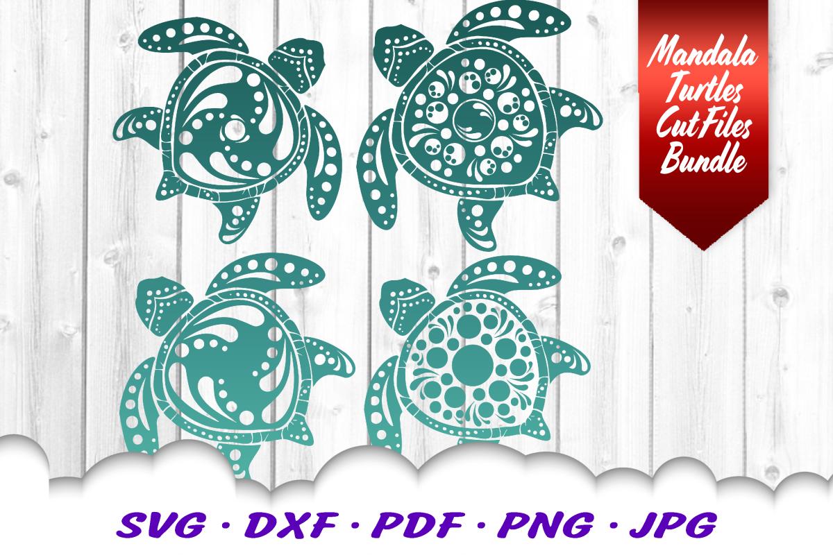 Mandala Sea Turtle SVG DXF Cut Files Crafters Bundle example image 1