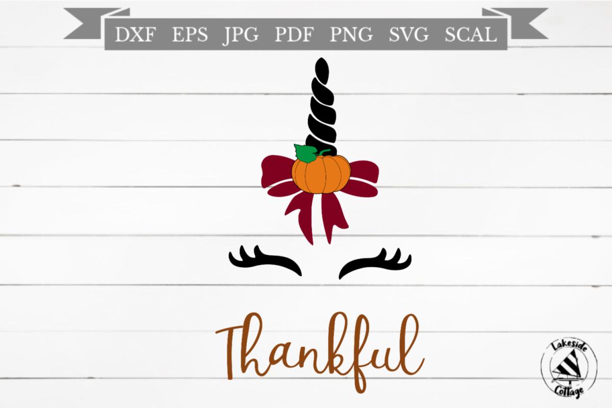 Thankful Unicorn Thanksgiving SVG Design example image 1