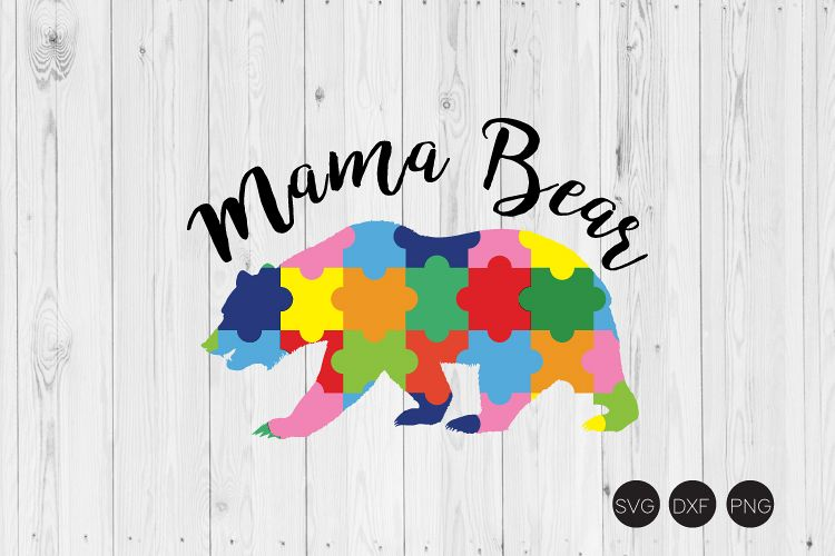 Mama Bear SVG, Autism SVG example image 1