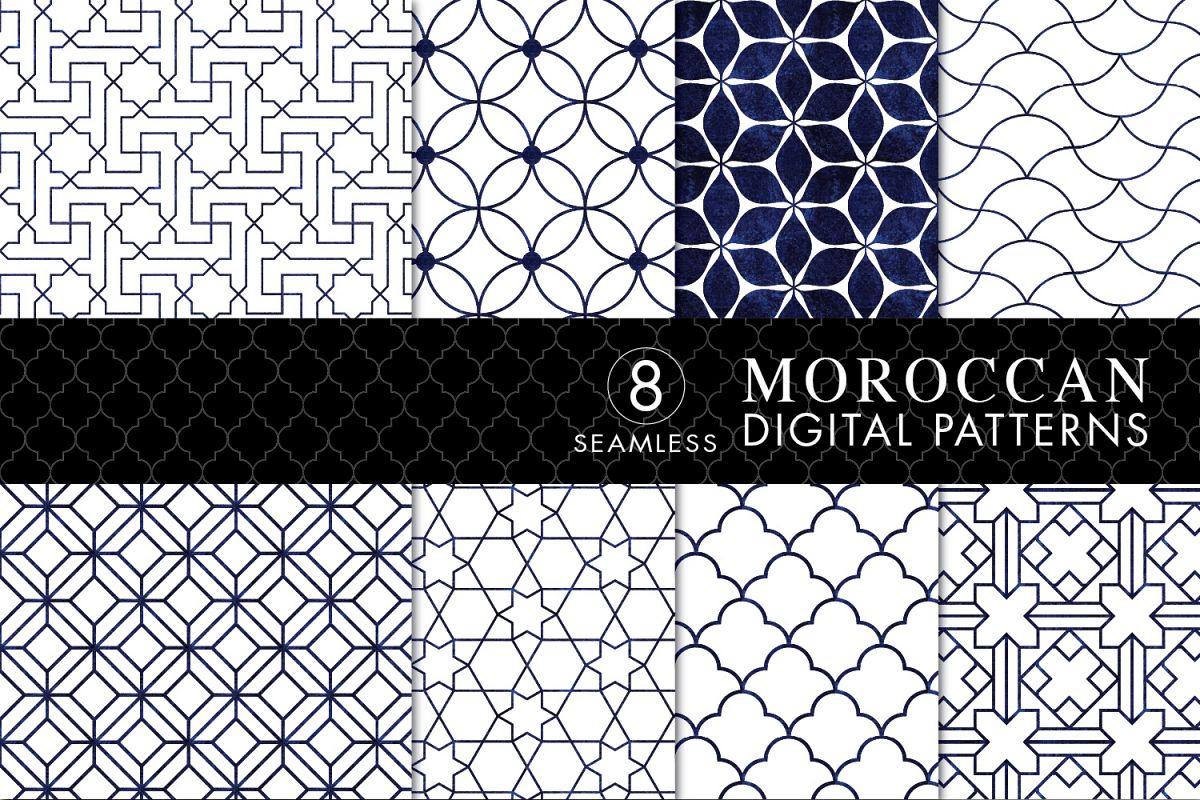 8 Seamless Moroccan Patterns - White & Blue Watercolor Set 3 example image 1