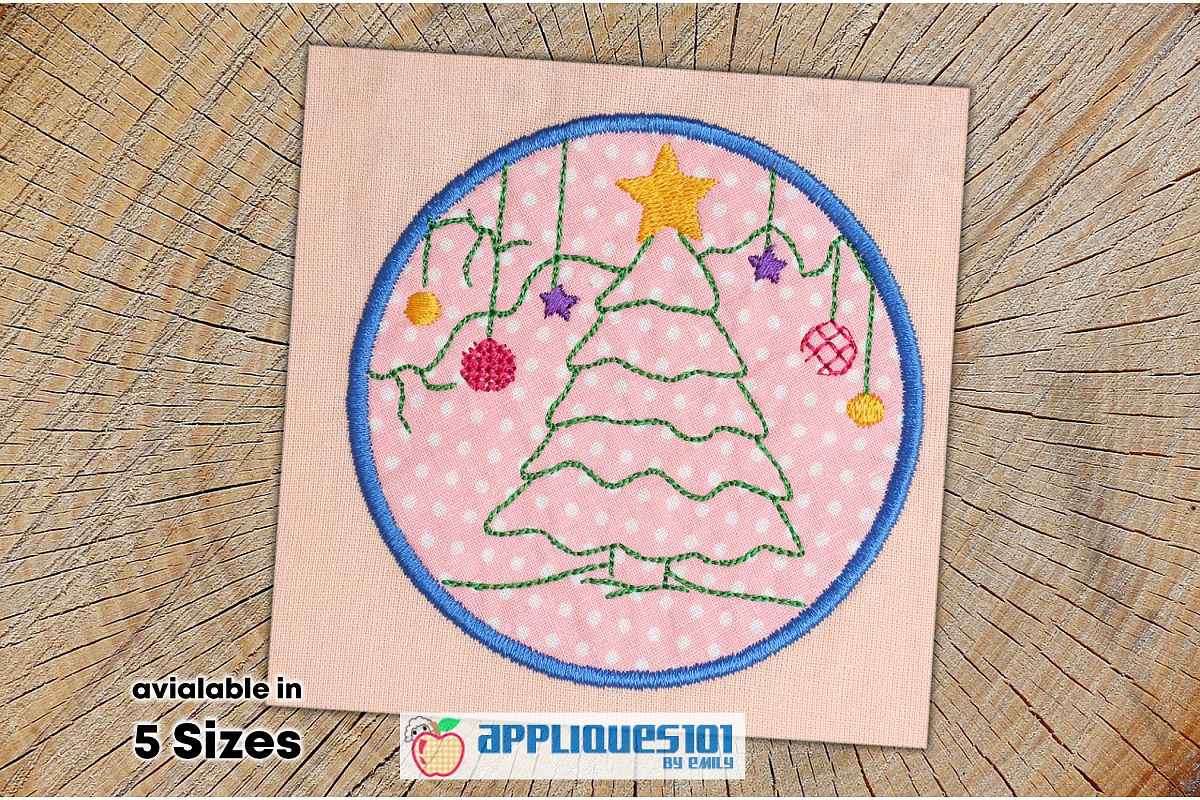 Christmas Tree Machine Embroidery Applique Design- Christmas example image 1