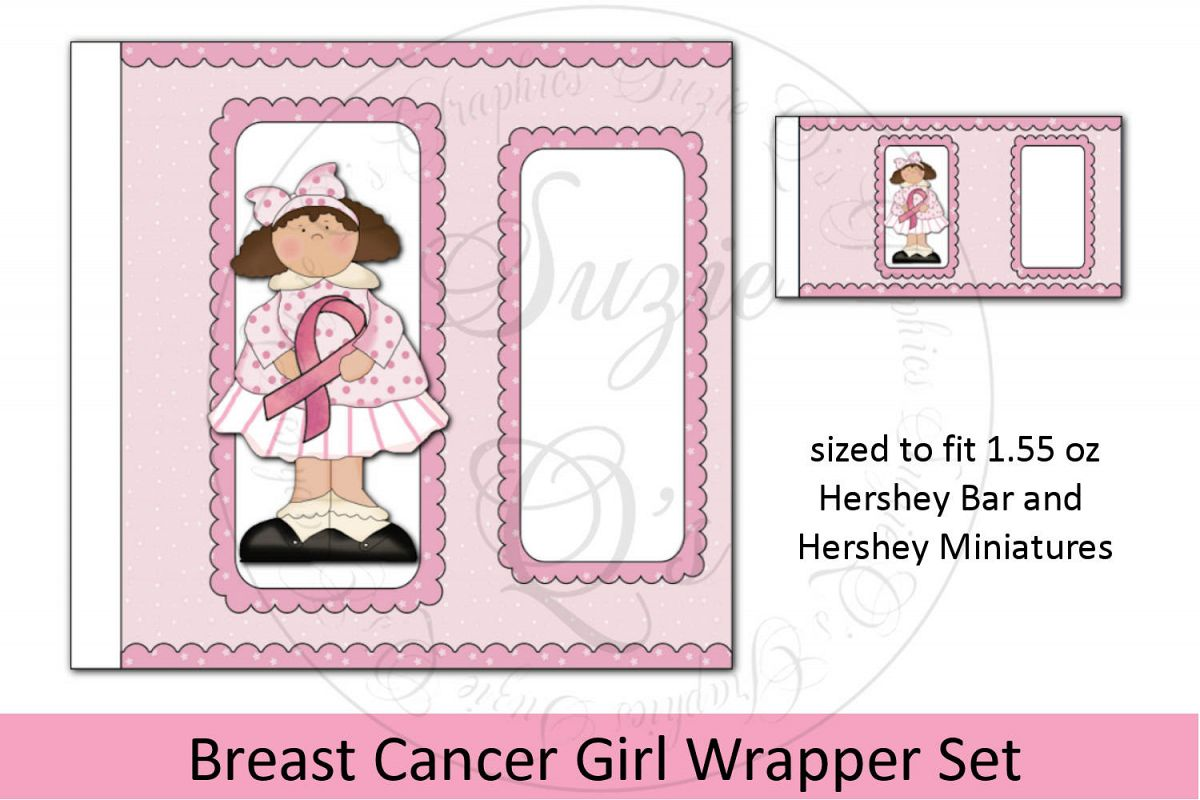 Breast Cancer Girl Candy Bar Wrapper Set example image 1