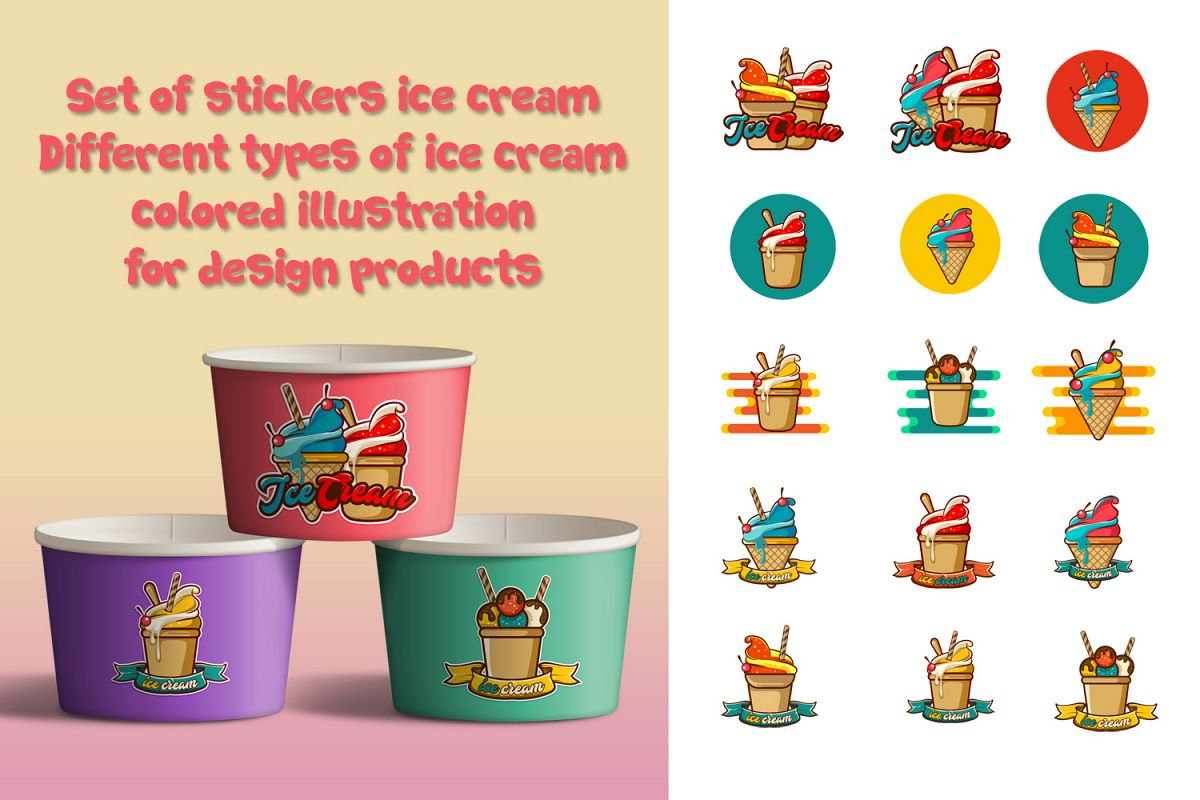 Ice Cream Icons on Transparent Background example image 1