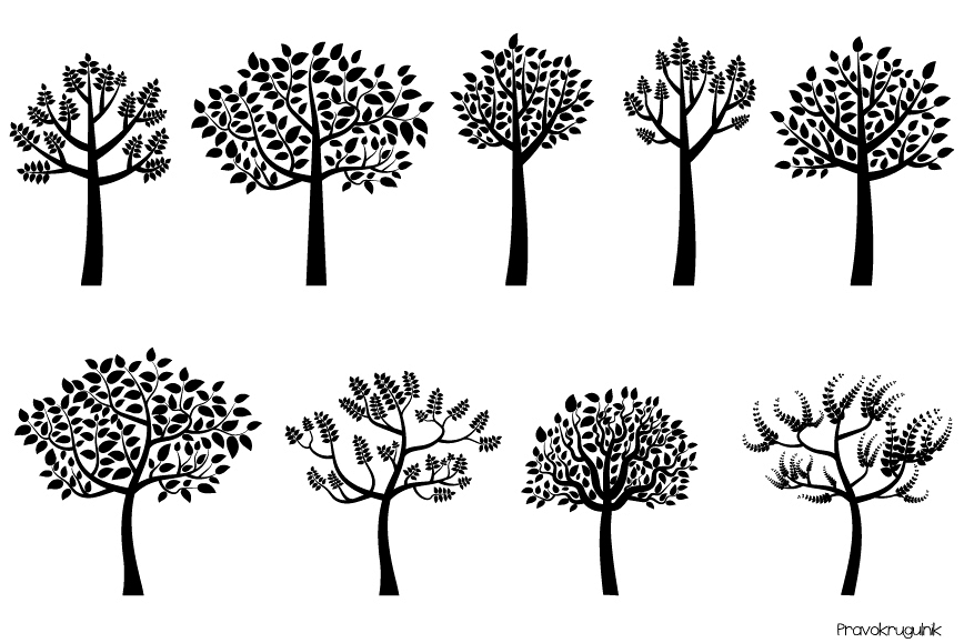 Black Tree Silhouette Clipart Trees With Leaves Clip Art