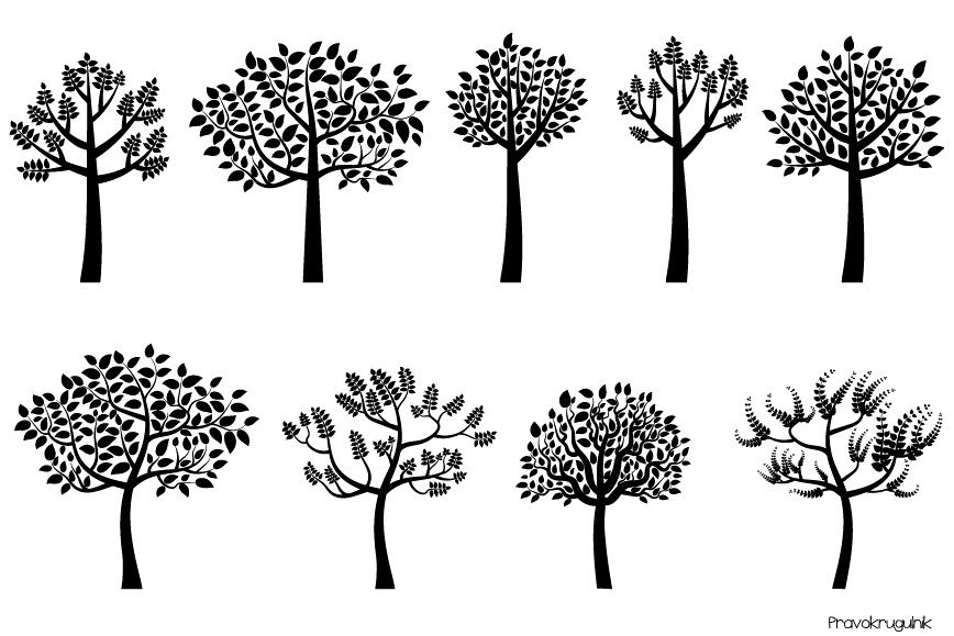Leaves silhouette. Black tree clipart trees