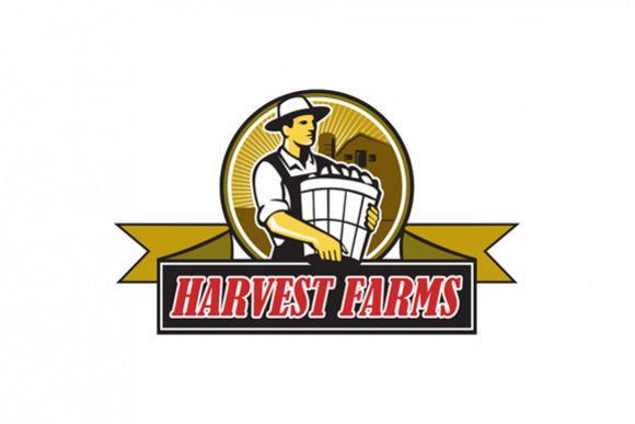 Organic Farmer Harvest Farms Circle Retro example image 1