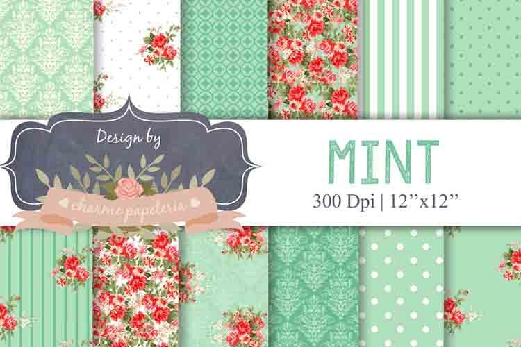 Mint Floral Digital Paper, Floral, Shabby Chic red and mint example image 1