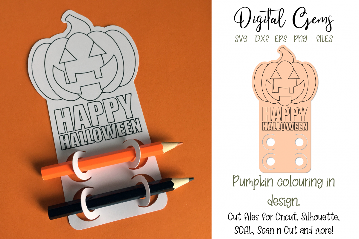 Pumpkin colouring in design, cut & single line sketch file example image 1