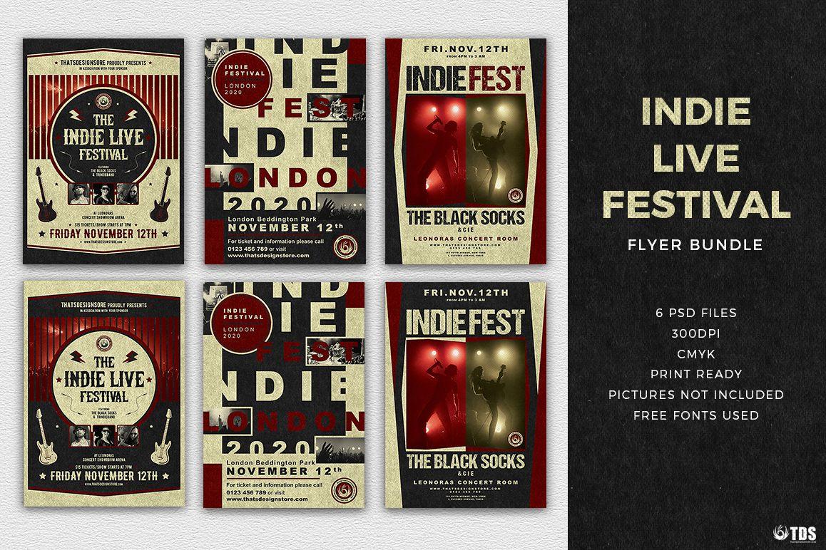 Indie Live Festival Flyer Bundle example image 1