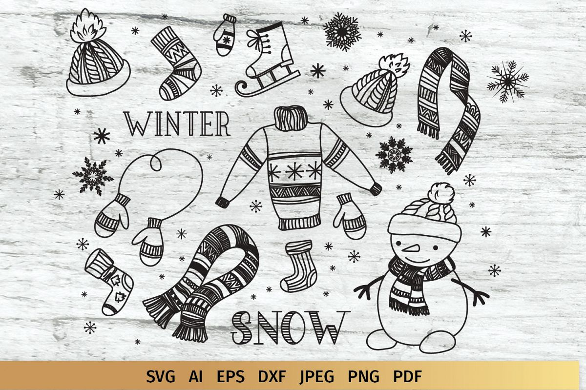 Winter Doodles Collection example image 1