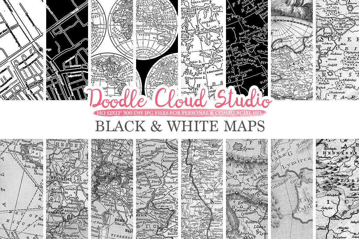 Black and White Maps digital paper, Vintage Old World Map, City Map, Nautical Maps geographic map textures for Personal & Commercial Use example image 1