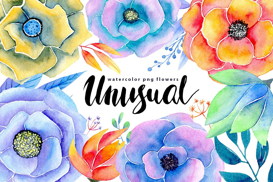 Watercolor flowers 17 png example image 1