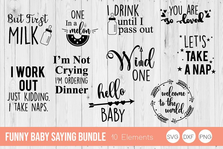 Funny Baby Saying Bundle SVG Cut Files example image 1