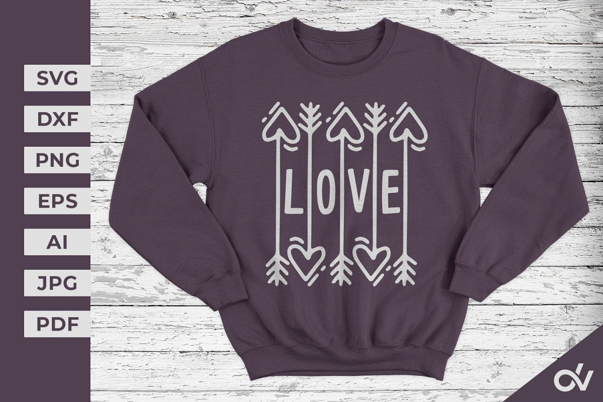 Love T-shirt - Valentines SVG example image 1