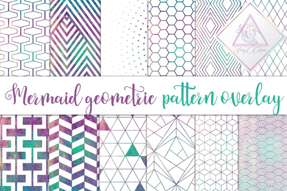 Mermaid Geometric Pattern Overlay Clipart example image 1