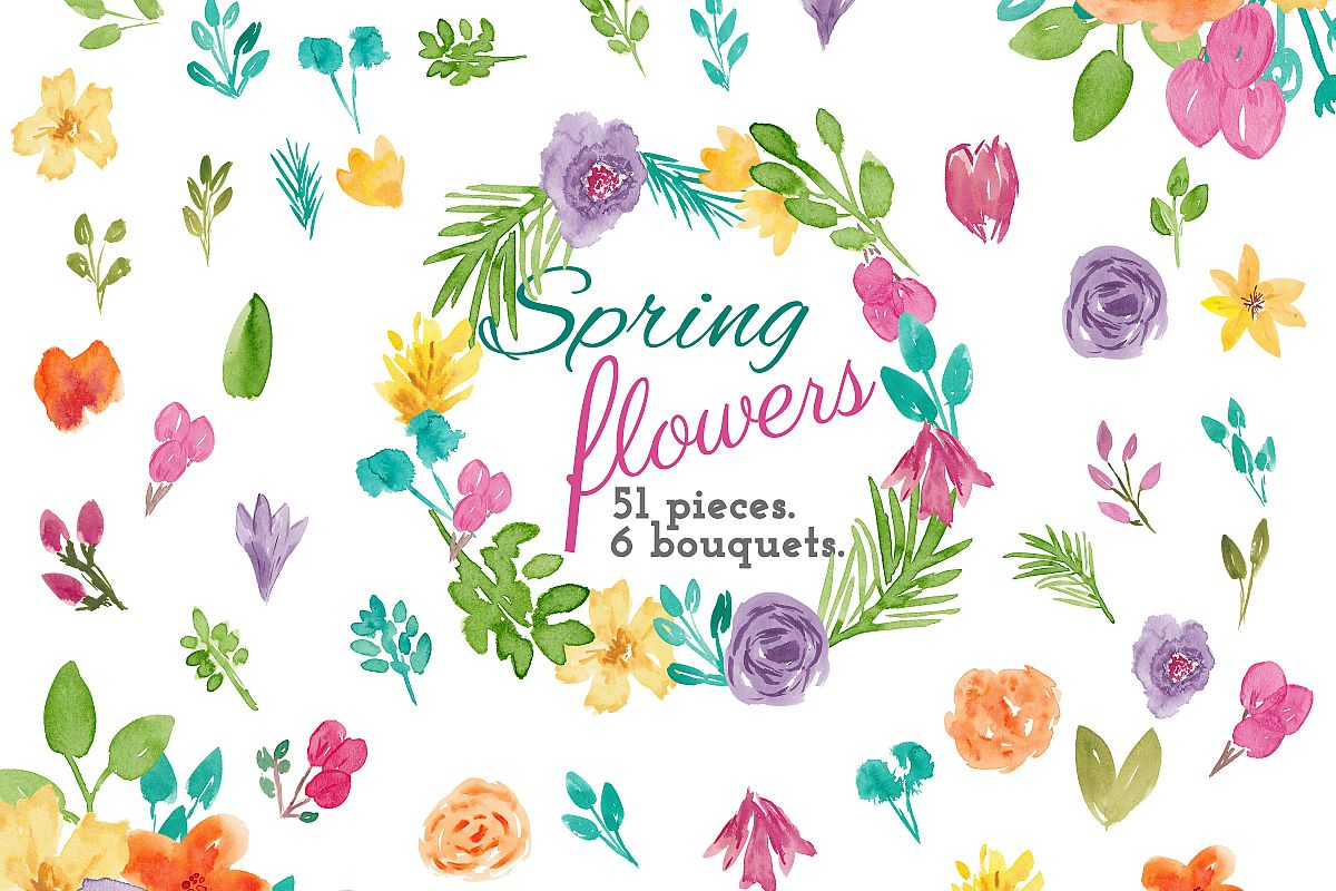 Spring Flower Watercolor Clip Art example image 1