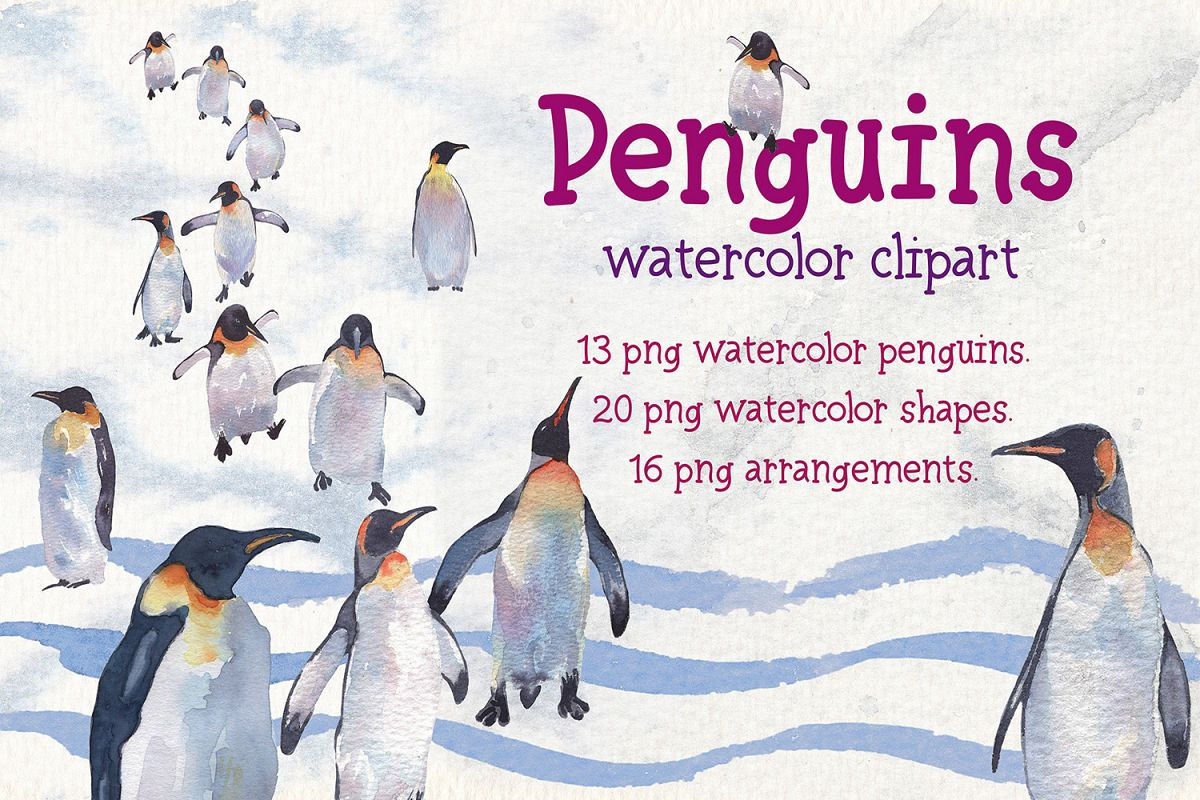 Penguins watercolor clipart example image 1