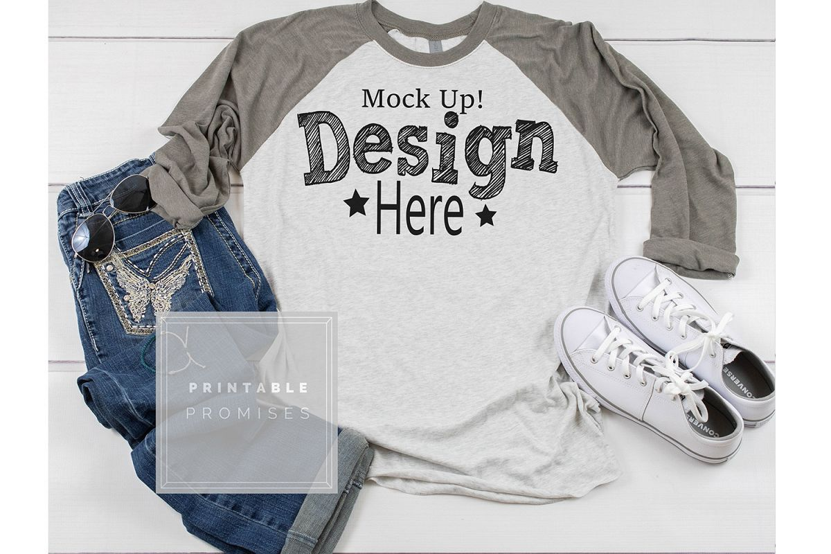 Next Level 6051 Vintage Grey Raglan Mockup shirt Mockup Phot example image 1