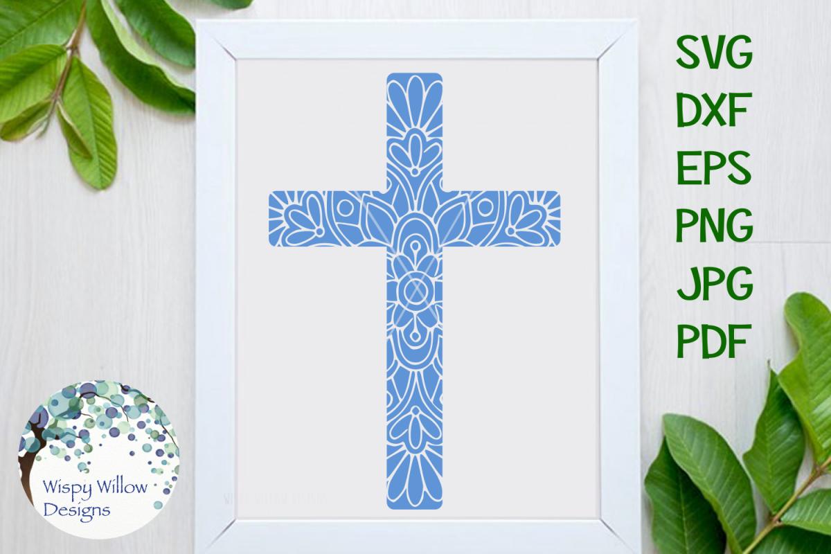 Christian Cross Mandala SVG example image 1
