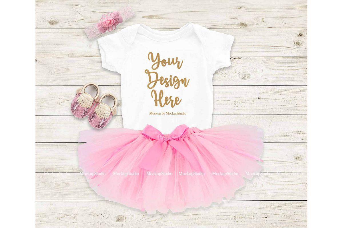 Baby Girl Bodysuit Mockup, Newborn White Onepiece Mock Up example image 1