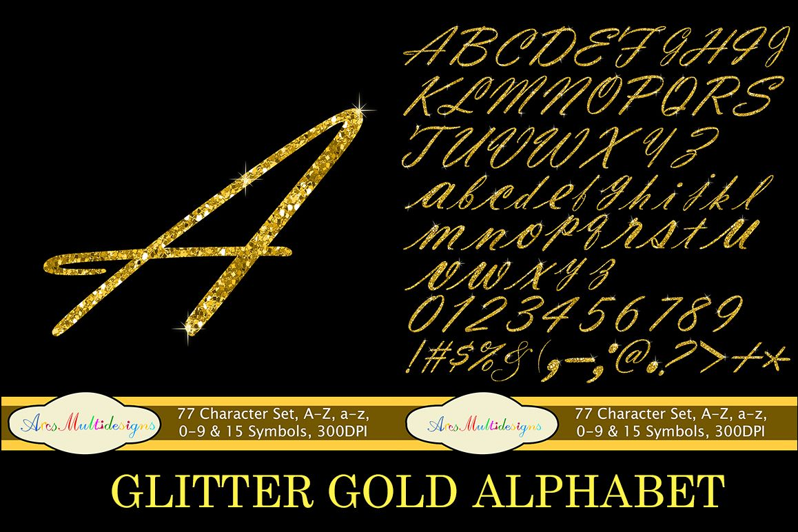 Glitter gold alphabet script / PNG high quality alphabet set for all kind of projects / digital fonts / gold letters / gold fonts example image 1