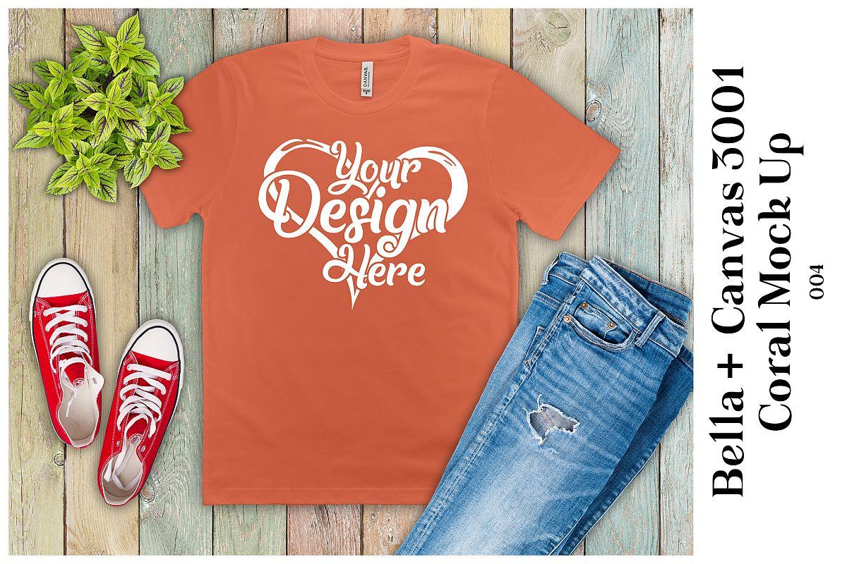 Mens Coral T-Shirt Mockup Bella Canvas 3001 Mock Up Flat Lay example image 1