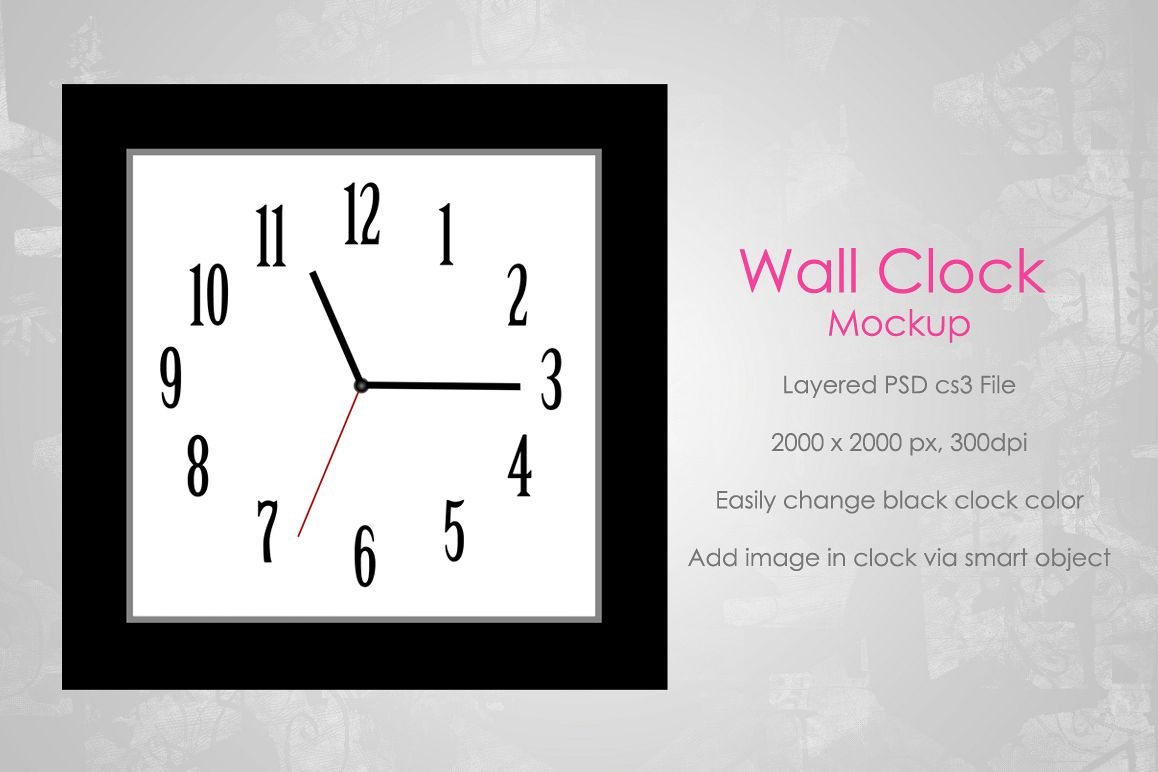 Wall Clock Mockup (Square) example image 1