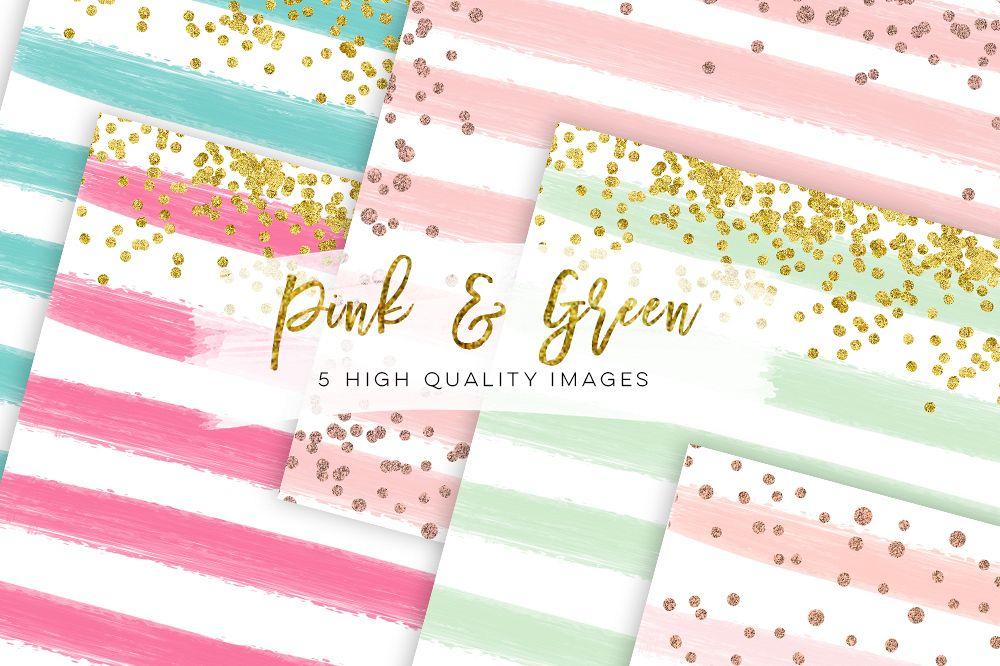 watercolor digital paper pink and green, paper mix watercolor digital paper, Dreamy rose gold digital paper Watercolor, stripe digital paper example image 1