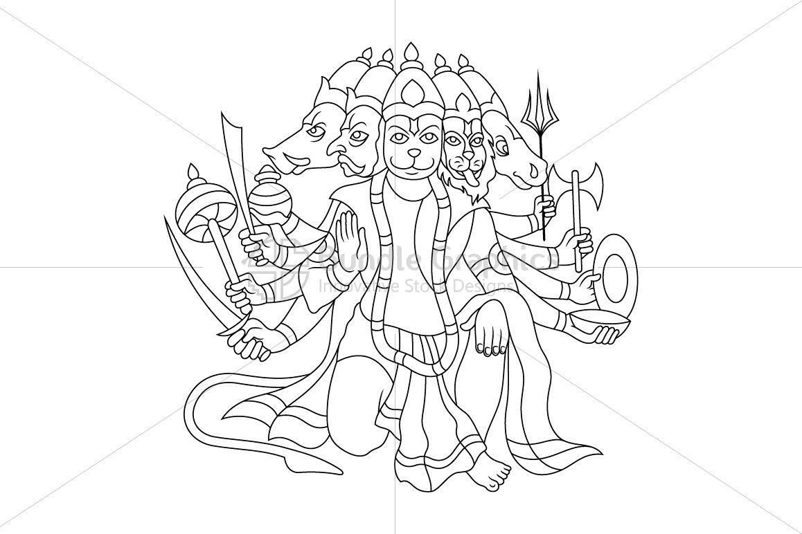 Panchamukha Hanuman - Illustration example image 1