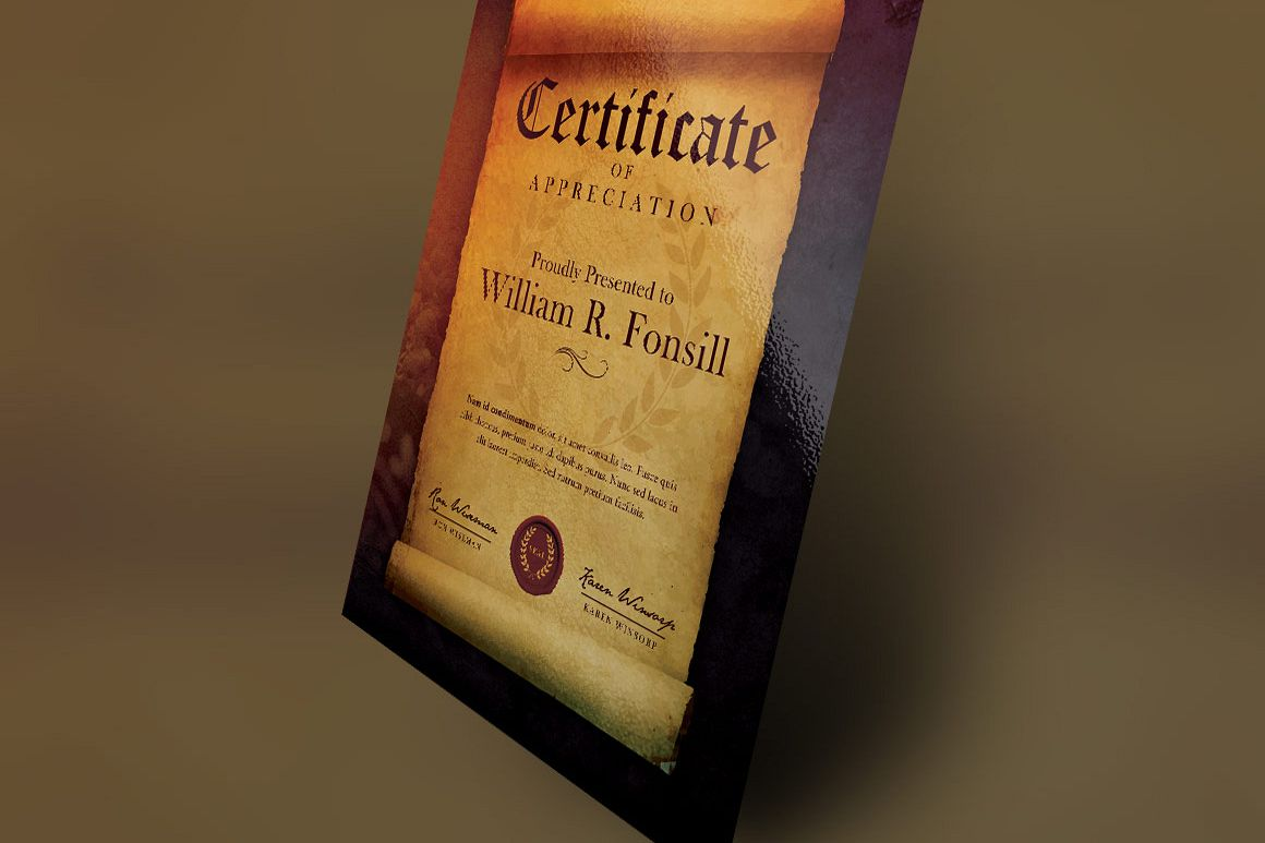 Royal Scroll Certificate Photoshop Template
