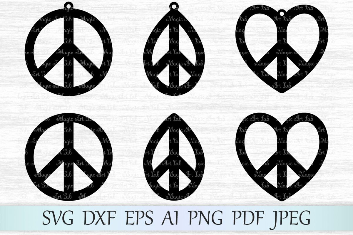 Peace Svg File Earring Peace Svg Peac Design Bundles