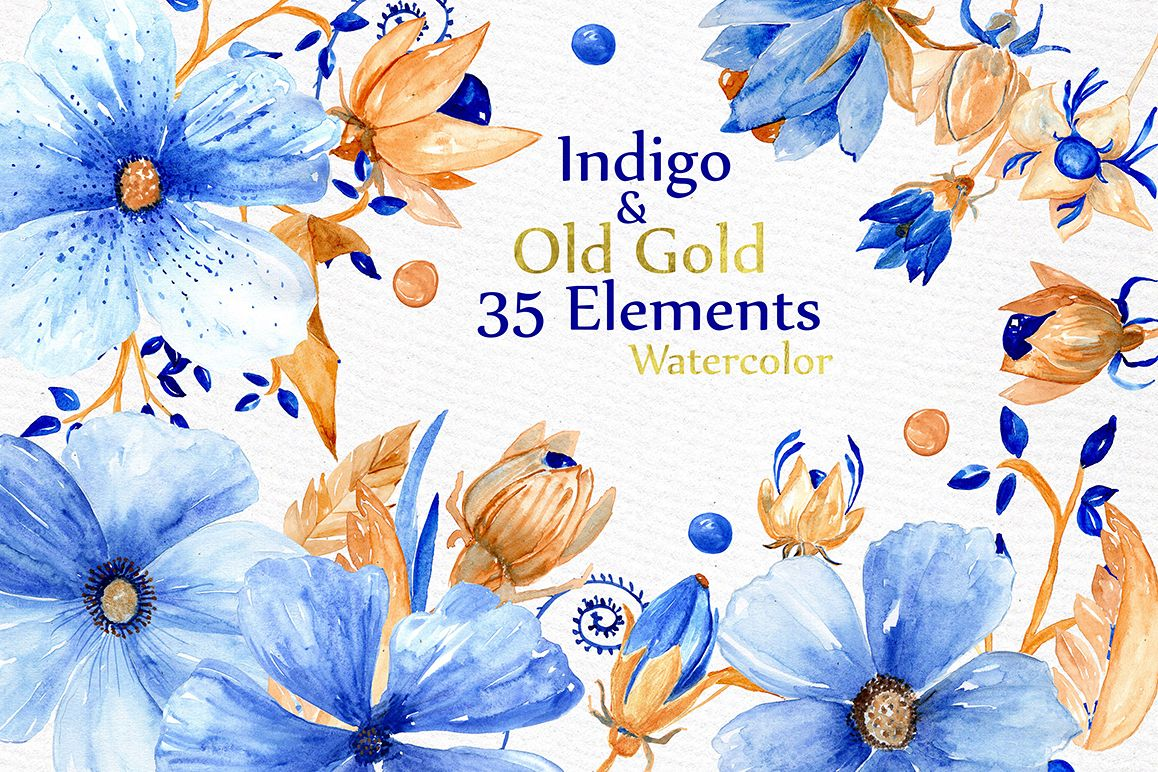 Watercolor blue gold flowers example image 1