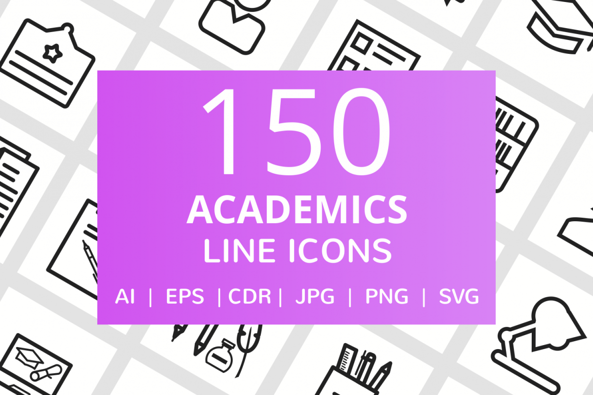 150 Academics Line Icons example image 1
