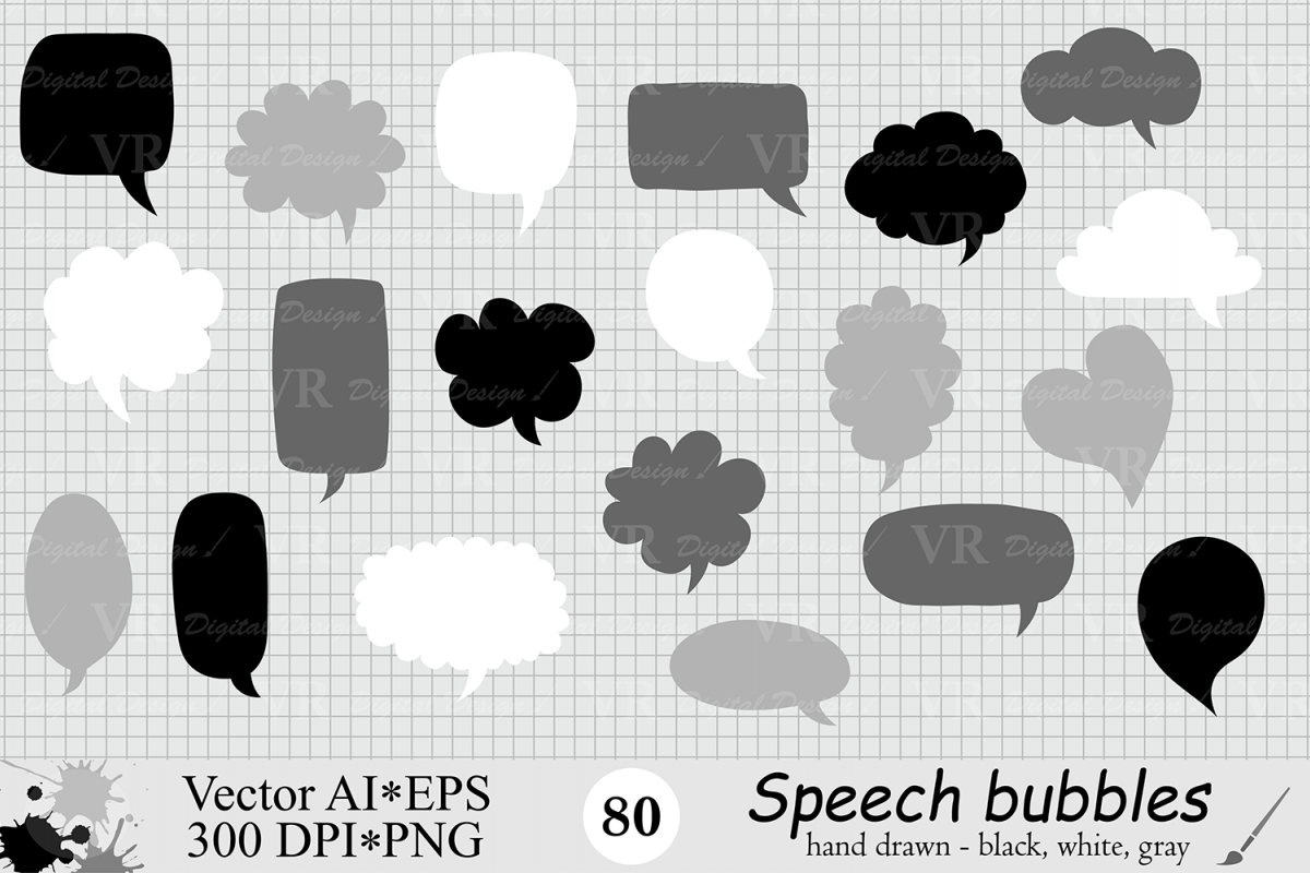Speech Bubbles Clipart / Chat Bubbles / Hand drawn Text bubbles / Black, White, Gray - Vector example image 1