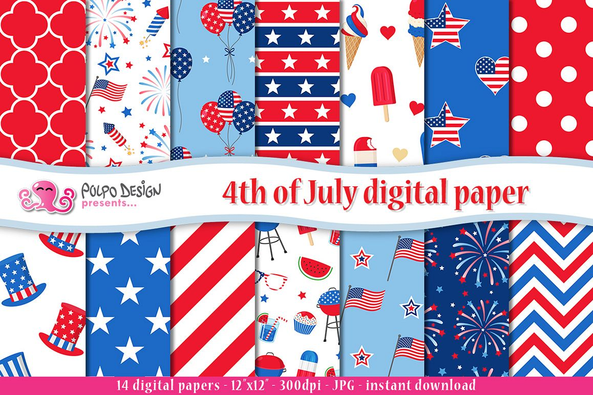 4th of July digital paper example image 1