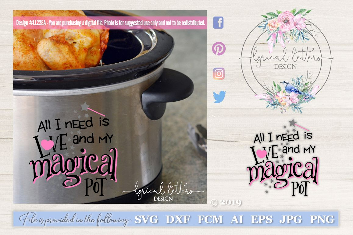 Slow Cooker Pressure Cooker All I Need is Love SVG LL228A example image 1