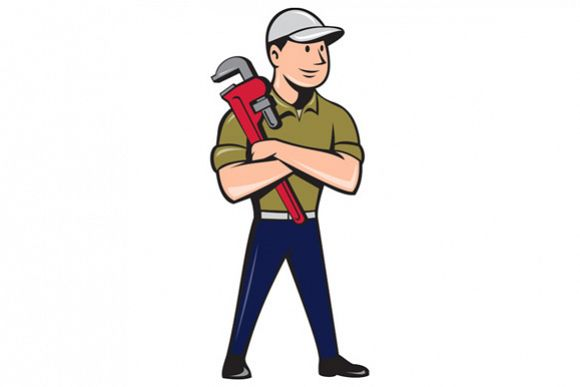 Plumber Arms Crossed Standing Cartoon example image 1