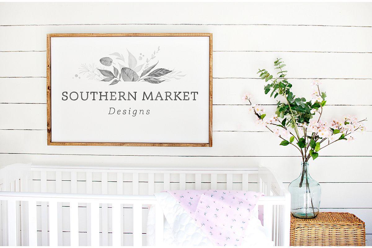 Nursery 24x36 Sign Mock Up Wood Frame Styled Photography example image 1