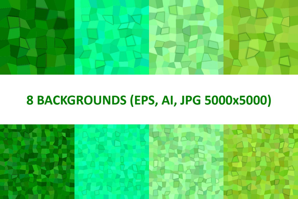 8 Green 3D Rectangle Backgrounds (AI, EPS, JPG 5000x5000) example image 1