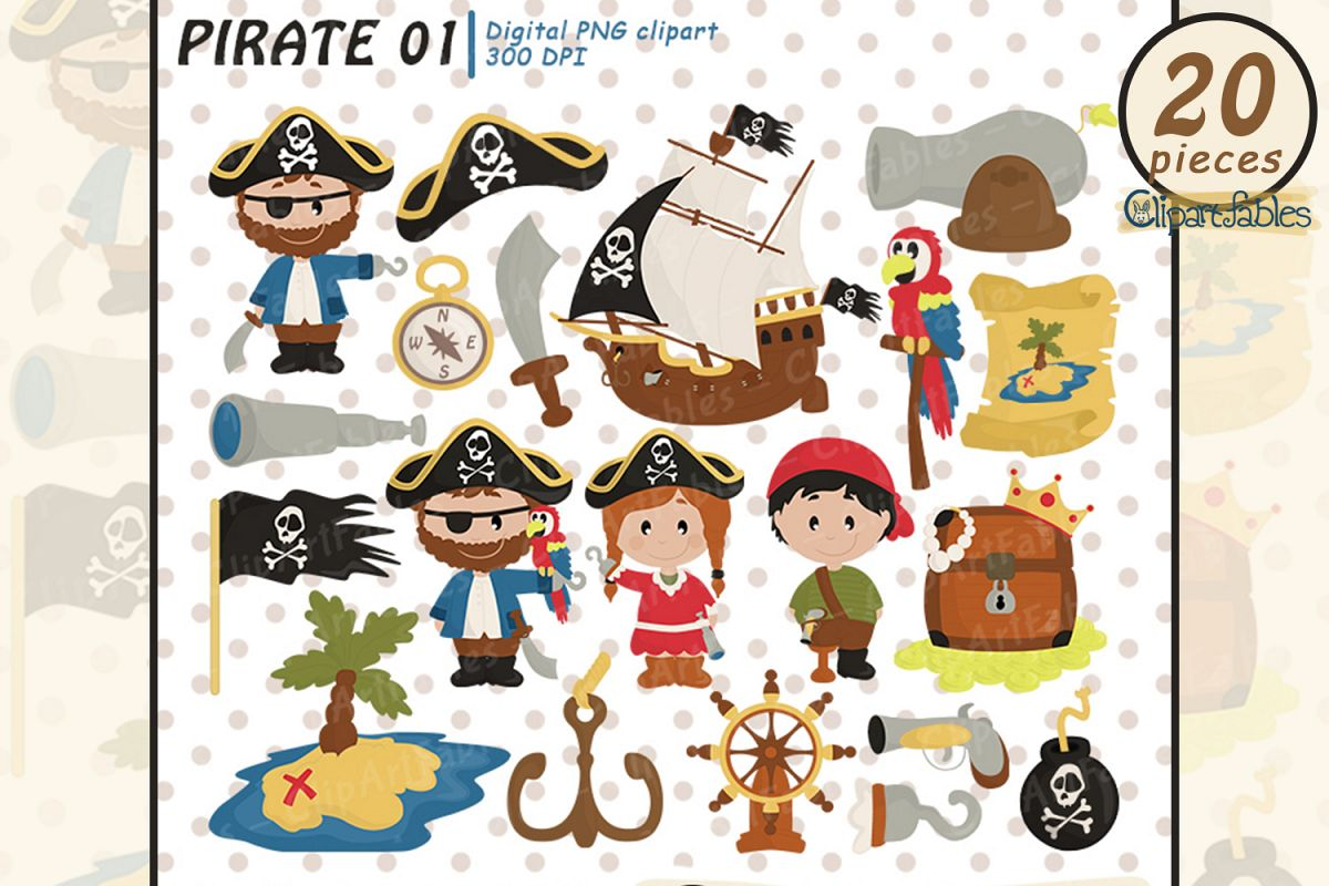 PIRATE clipart, Ahoy clip art, Cute pirate theme example image 1