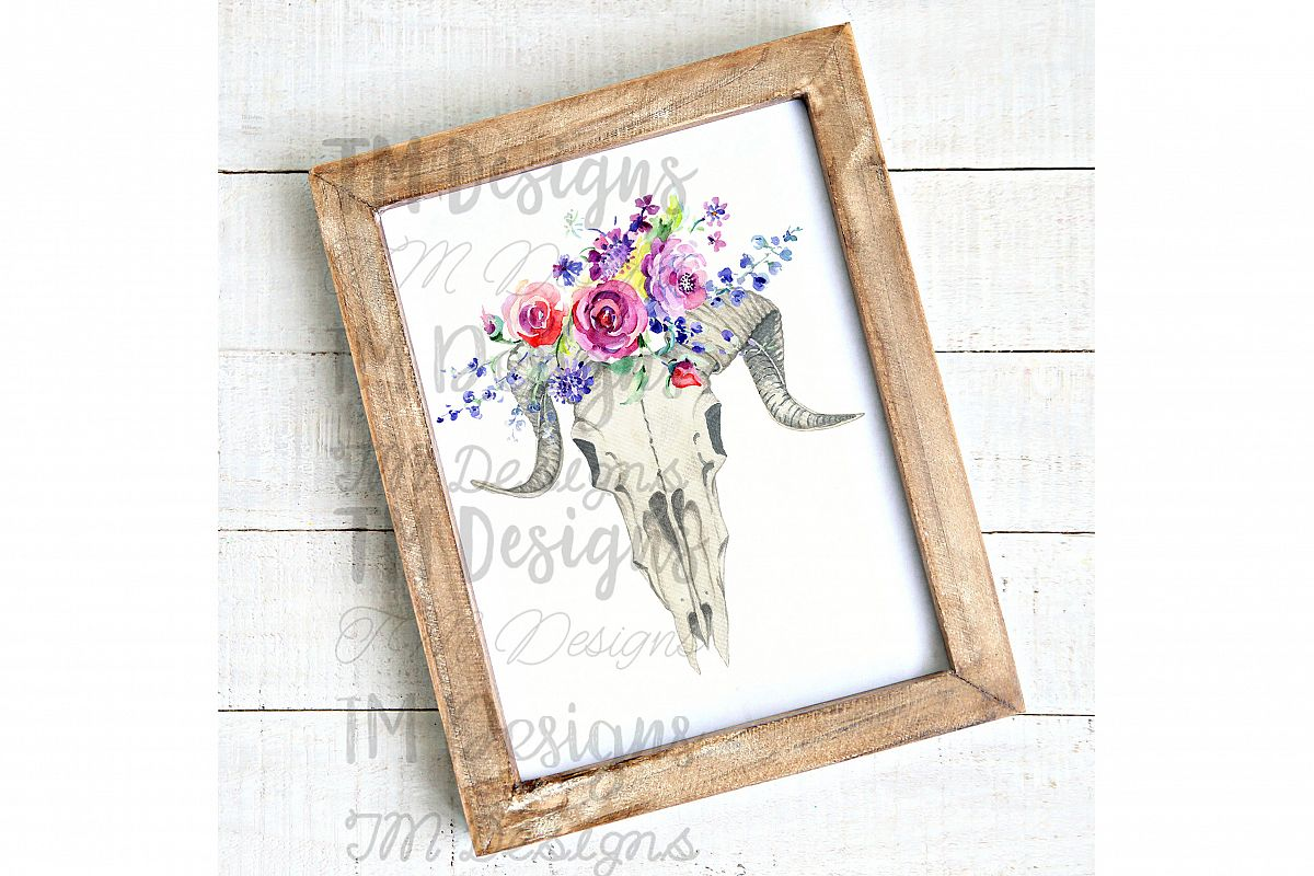 Floral Goat Skull Sublimation example image 1