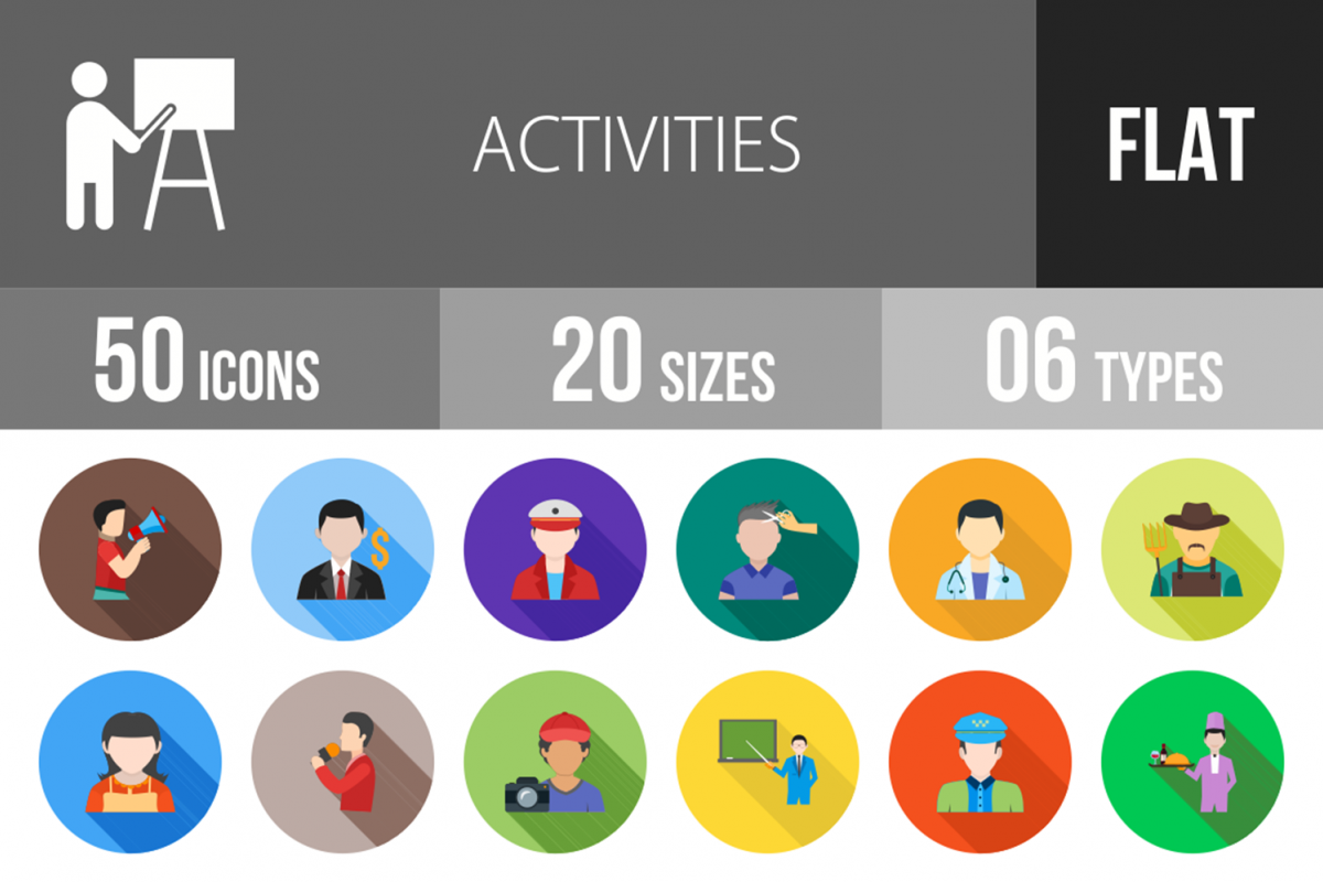 50 Activities Flat Long Shadow Icons example image 1