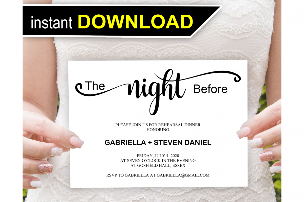 The night before, Rehearsal Dinner Invitation template example image 1
