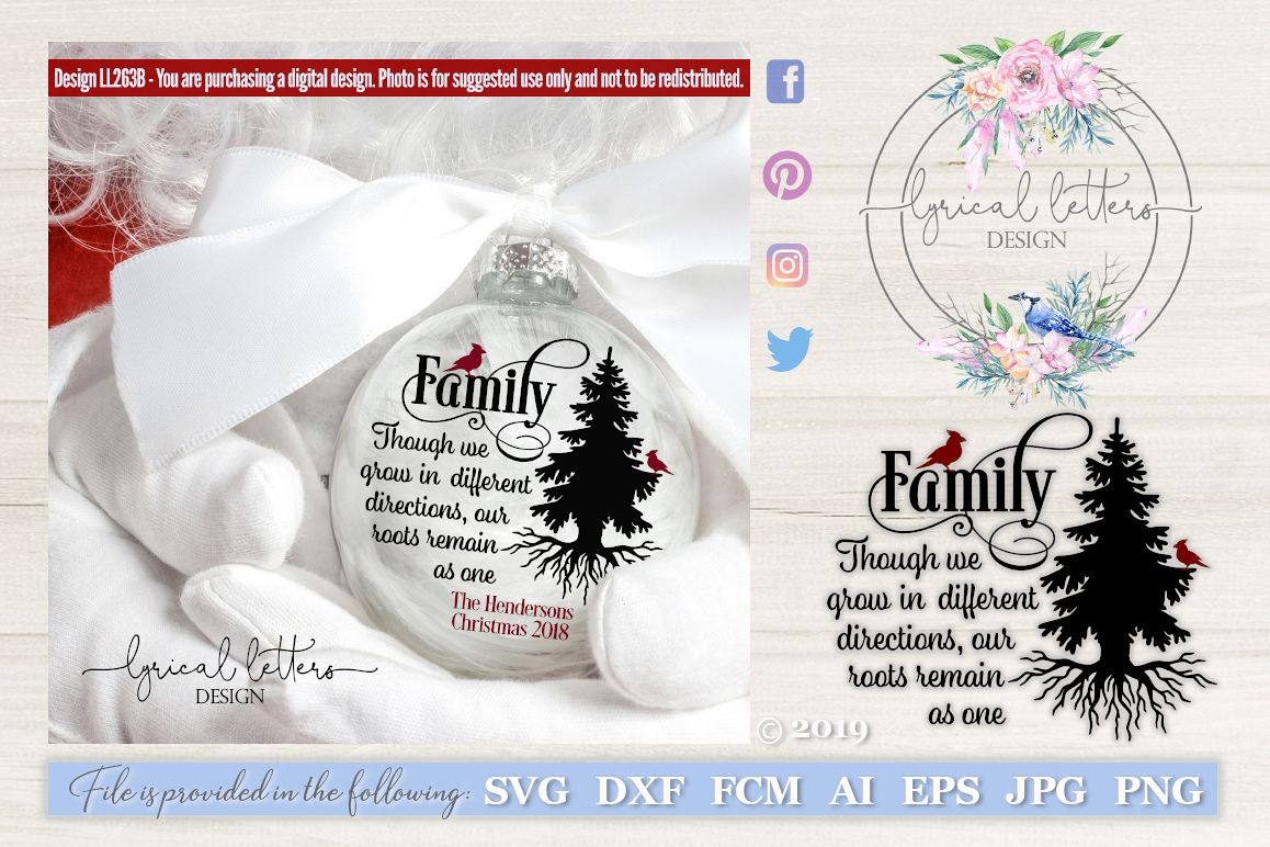 Christmas Family Tree Quote with Cardinal SVG DXF FCM LL263B example image 1