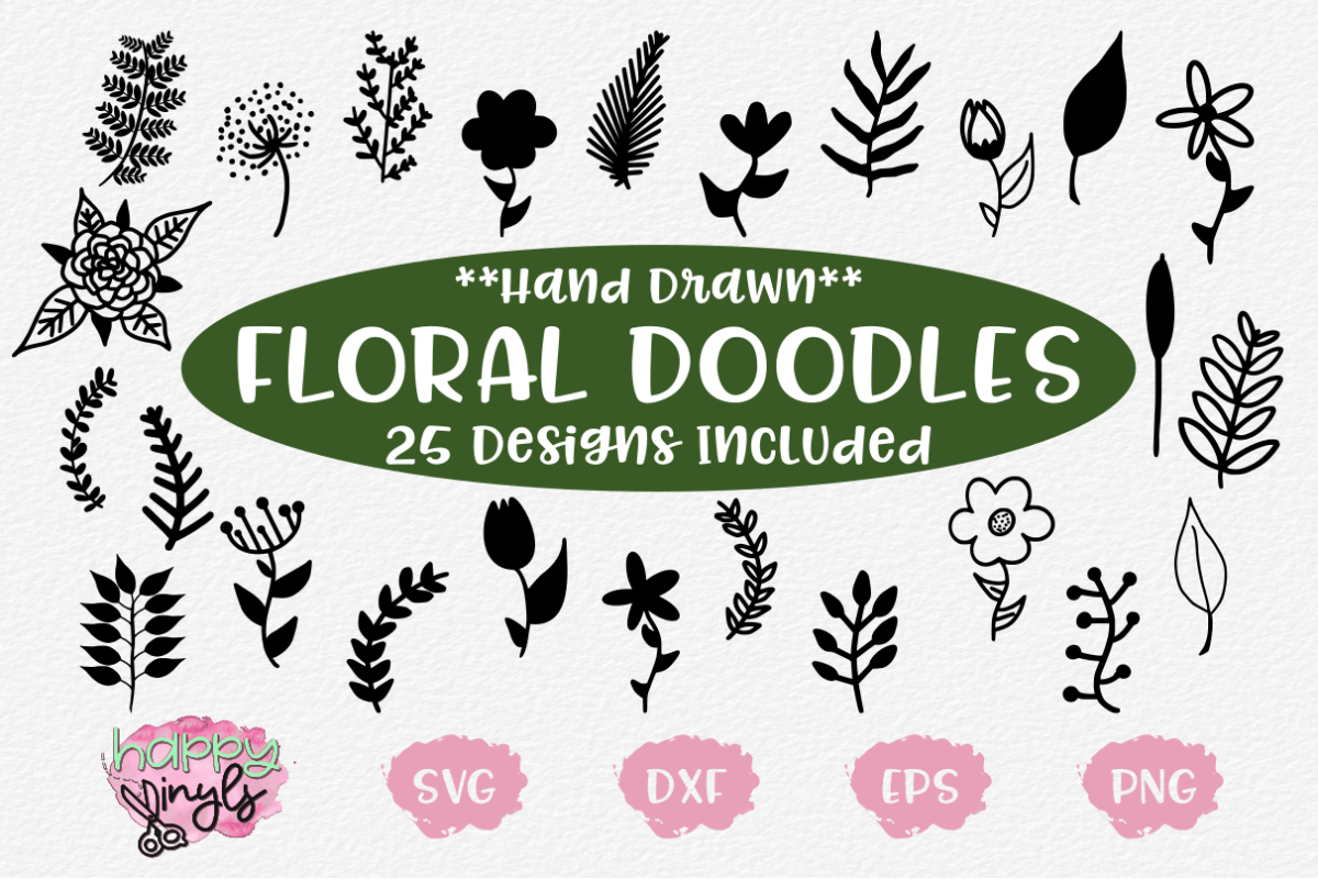 Hand Drawn Floral and Plant Doodles - A Floral SVG Bundle example image 1