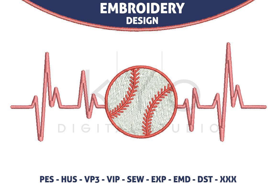 Baseball Heartbeats Hus Vp3 Exp Vip Pes Embroidery Files Baseball