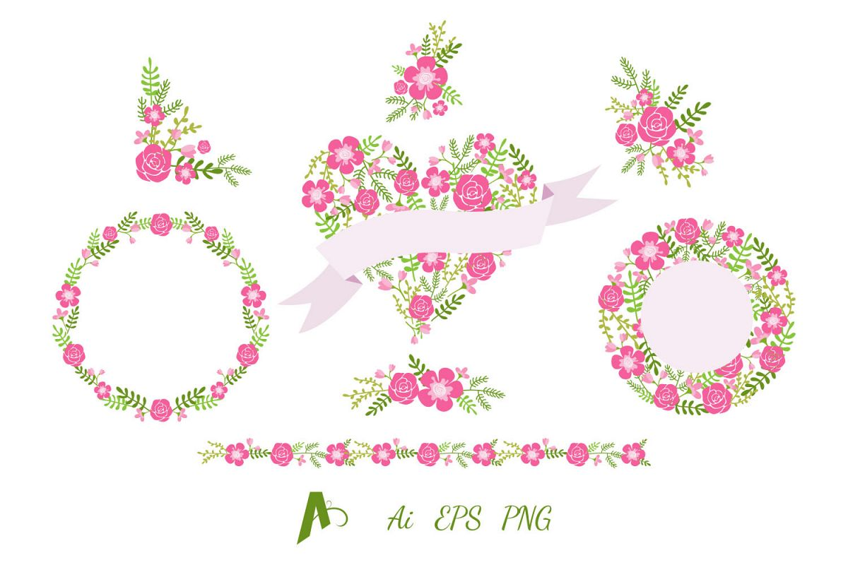 Flowers Clipart, Flower wreath, Frame and Border. example image 1