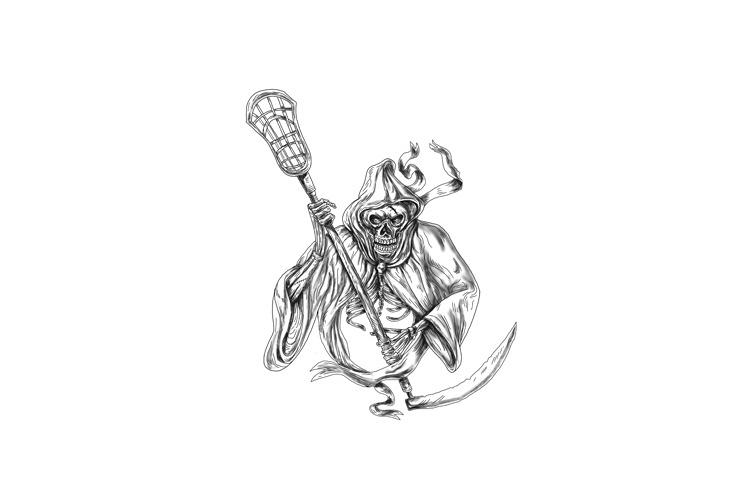 Grim Reaper Lacrosse Defense Pole Tattoo example image 1