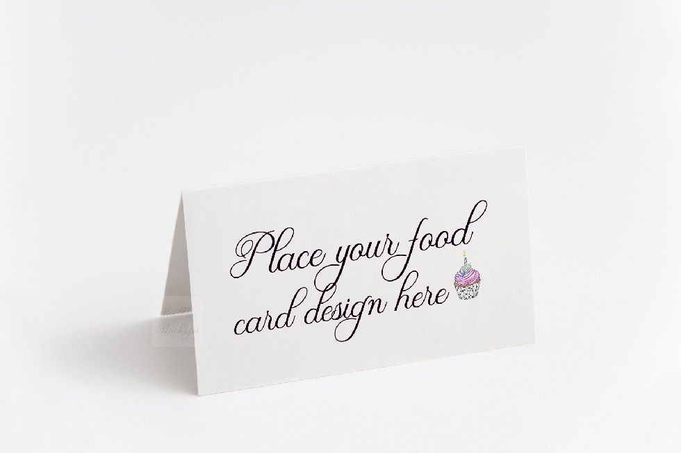 Blank food Card Mock up photo Table number guest tag mockup example image 1